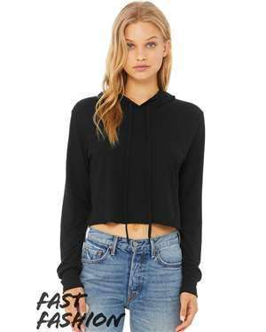 Bella + Canvas Women's Crop Long Sleeve Hoodie T-Shirt - 8512