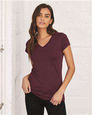 Brand: Bella + Canvas | Style: 6005 | Product: Women's Short Sleeve Jersey V-Neck Tee