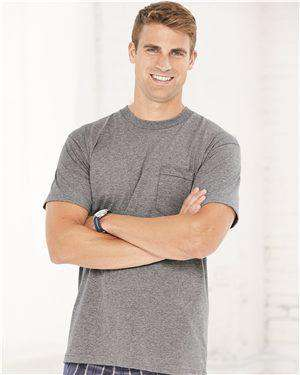 Brand: Bayside | Style: 3015 | Product: Union-Made Short Sleeve T-Shirt with a Pocket