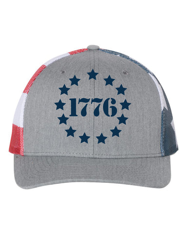 1776 Embroidered Stars and Stripes Mesh Trucker Snapback Cap