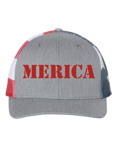 MERICA Stars and Stripes Mesh Trucker Snapback Cap