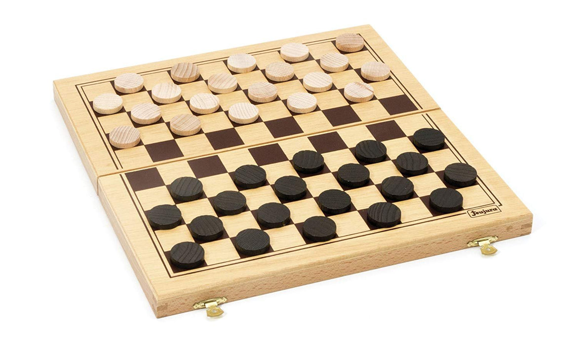 JEUJURA JeujuraJ8131 Checkers Game in Foldable Wood Box