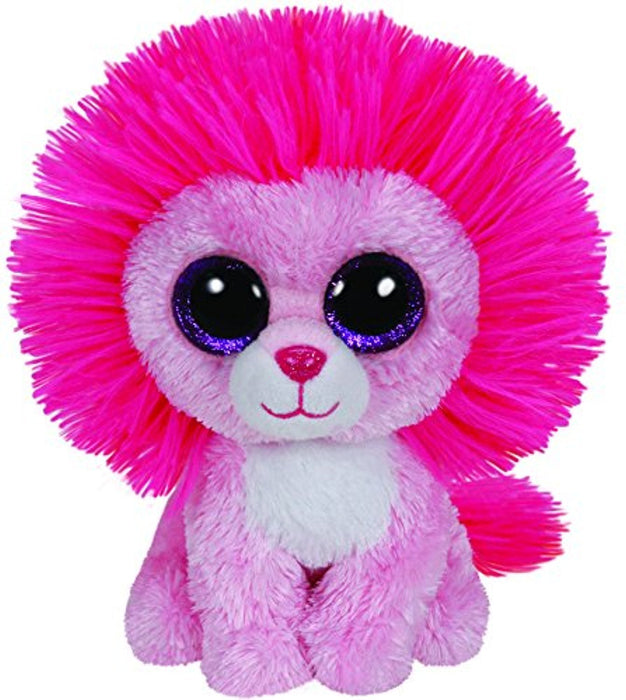 TY Beanie Boo Plush - Fluffy the pink Lion 15cm