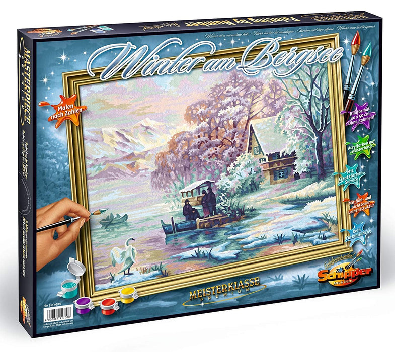 Schipper 609130700 Winter at a Mountain Lake Paint By Numbers Board