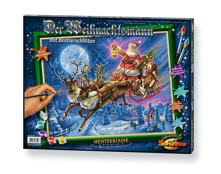Schipper 609300694 Santa Claus with Reindeer Sleigh Paint By Numbers Board