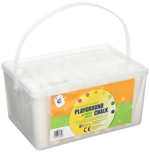 CI CS 1750 White Jumbo Playground Chalk in A Plastic Container with Handle (52-Piece)