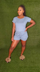 """Lets chill"" romper (Blue Grey)"