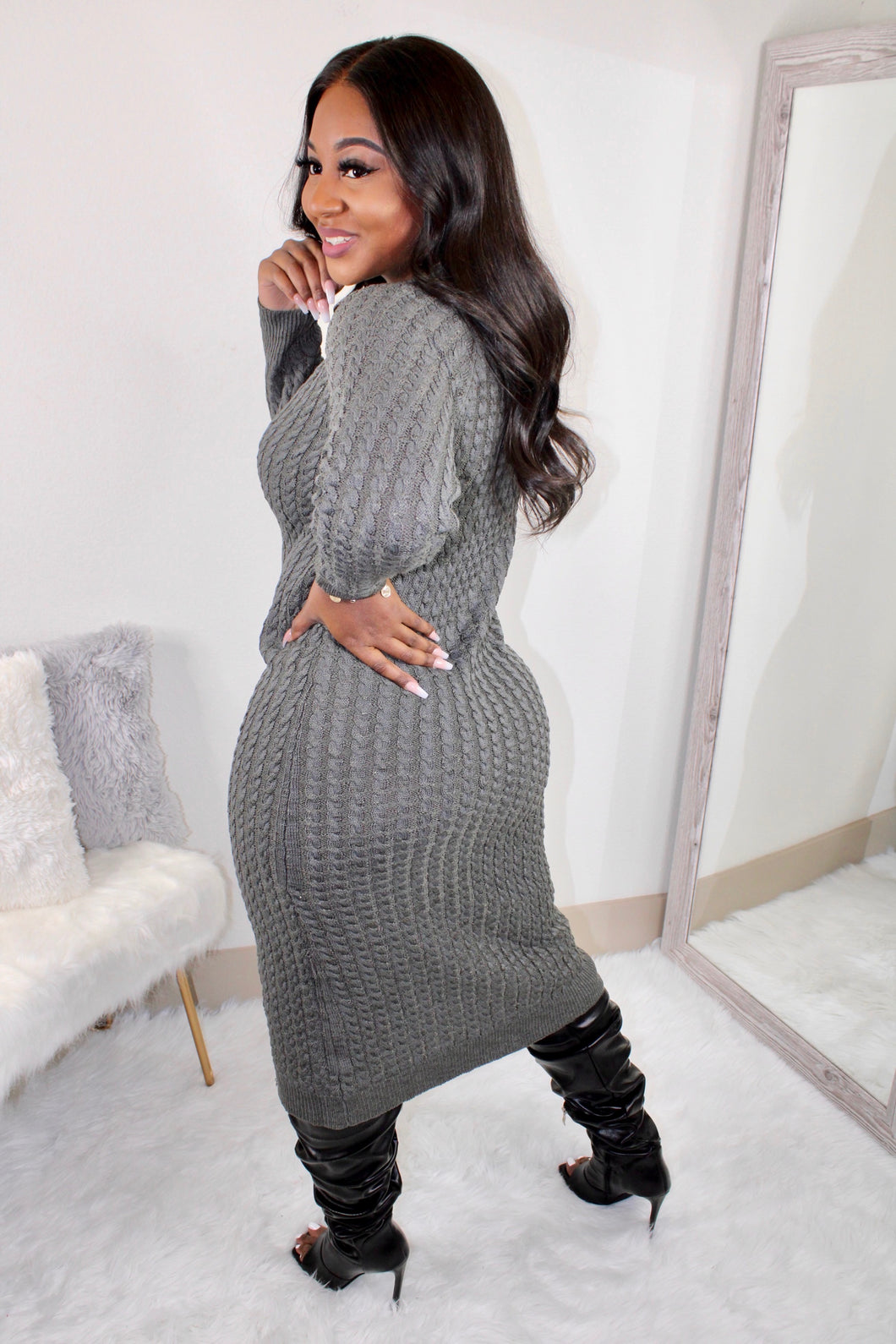 Comfy Sweater Dress (Charcoal)