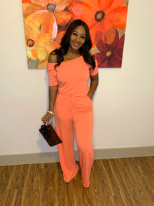 Peaches & Cream Jumpsuit (coral)