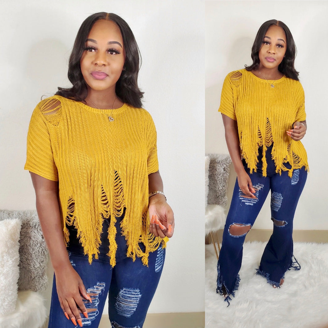 Distressed Top (Mustard)