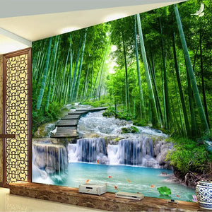 Custom 3D Photo Wallpaper Wall Painting Living Room Bedroom Bamboo Forest Wooden Bridge Stream Water Mural De Parede Waterfall - WallpaperUniversity