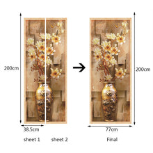Load image into Gallery viewer, 3D Stereoscopic European Magnolia Vase Mural Wallpaper PVC Waterproof Self-adhesive Bedroom Living Room Decoration Door Sticker - WallpaperUniversity