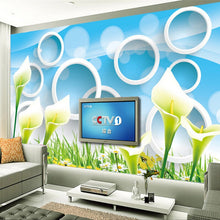 Load image into Gallery viewer, Custom Photo Wallpaper Modern Fashion Flower 3D Circle Rings Abstract Art Mural Living Room TV Background Wallpaper For Walls 3D - WallpaperUniversity