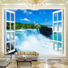 Load image into Gallery viewer, Custom Photo Wall Paper 3D Stereoscopic Window Waterfall Living Room Bedroom Background Wallpaper For Walls Mural De Parede 3D - WallpaperUniversity