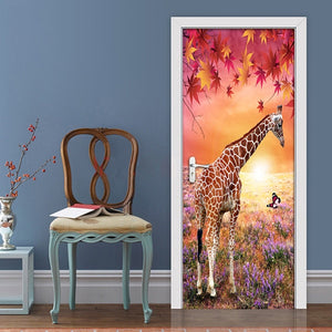 Maple Leaf Giraffe 3D Nature Landscape DIY Door Sticker PVC Mural Wallpaper For Living Room Bedroom Wall Paper Home Decor Modern