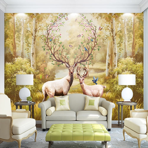 3D Photo Wallpaper Custom Nordic Forest Oil Painting Elk Large Murals Non-woven Wallpaper For Living Room Sofa Murales De Pared - WallpaperUniversity