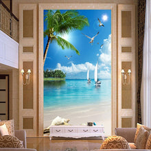 Load image into Gallery viewer, Custom Wallpaper Murals 3D Beach Seagull Coconut Trees Sailboat Sea View Wall Mural Entrance Corridor Background Photo Wallpaper - WallpaperUniversity