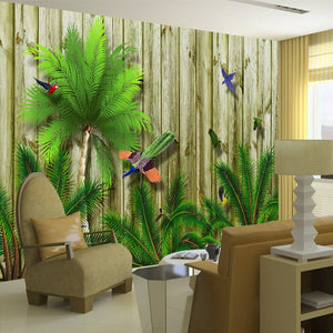 Custom Large Wall Painting Tropical Bird Forest Southeast Asia 3D Wood Board Wood Grain Wall Mural Wallpaper Living Room Sofa - WallpaperUniversity