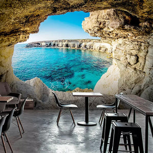 3D Cave Seascape Mural Mediterranean Modern Wallpaper Sofa Living Room TV Background Wall Home Decor Picture 3D Wall Painting - WallpaperUniversity