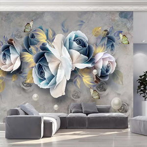 Custom Mural Wallpaper 3D Stereo Embossed Rose Flowers Murals European Retro Living Room TV Background Wall Decoration Painting - WallpaperUniversity