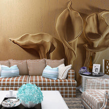 Load image into Gallery viewer, Custon Any Size 3D Wallpaper Gold Emboss Calla Lily Modern Abstract Art Mural Living Room Bedroom Decoration Waterproof Tapety - WallpaperUniversity