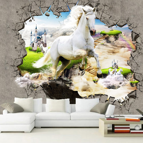 3D Wallpaper Custom Photo Non-woven Mural Wall Papers Home Decor 3D Stereo Horse Broken Wall Living Room Bedroom Modern Painting - WallpaperUniversity