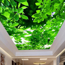 Load image into Gallery viewer, Large Custom 3D Mural Wallpaper Green Leaves Ceiling Murals Wall Art Painting Living Room Bedroom Ceiling Backdrop Wallpaper 3D - WallpaperUniversity