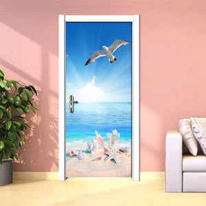 Nature Landscape 3D Photo Wallpaper Murals Blue Sky White Seascape Coconut Palm Door Mural Wall Sticker PVC Self-adhesive Paper - WallpaperUniversity