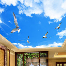 Load image into Gallery viewer, Custom Any Size 3D Stereo Blue Sky White Clouds Ceiling Murals Wallpaper Living Room Wall Papers Home Decor Modern Wall Painting - WallpaperUniversity