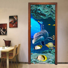 Load image into Gallery viewer, 3D Dolphin Door Sticker Living Room Bedroom Door Decoration Sticker Wallpaper PVC Self-adhesive Waterproof Mural Wall Painting - WallpaperUniversity