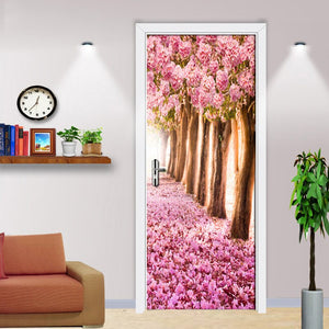 Pink Peach Forest 3D Door Stickers PVC Self-adhesive Waterproof Wallpaper Pink Floral Living Room Decoration Wall Painting Mural - WallpaperUniversity
