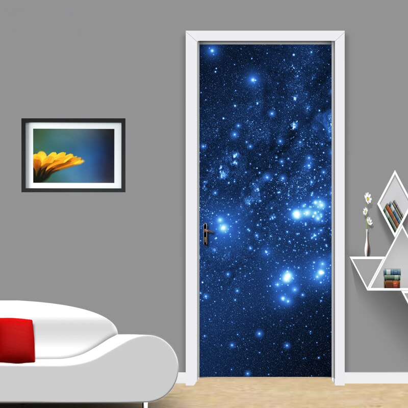 Modern 3D Stereoscopic Effect Star Sky Mural Wallpaper Living Room Bedroom Door Decoration Wall Painting PVC Stickers Waterproof - WallpaperUniversity