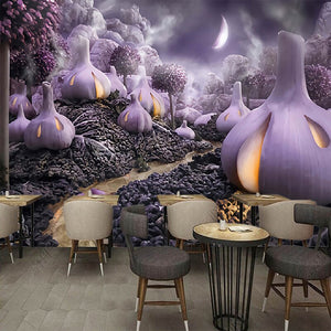 Custom Mural Wallpaper 3D Hand-painted Fantasy Purple Vegetables TV Background  Decoration Painting Modern Living Room Wallpaper - WallpaperUniversity