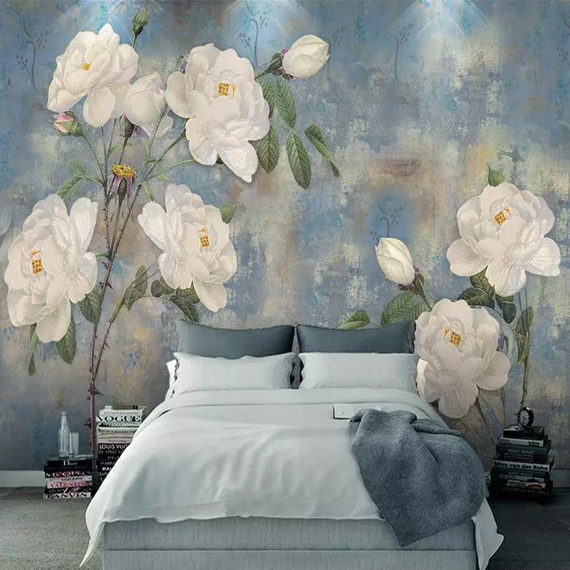 Custom 3D Photo Wallpaper Nordic Vintage Watercolor Flower White Rose Mural TV Living Room Bedroom Wall Papel De Parede 3D Mural - WallpaperUniversity