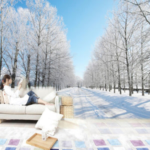 Custom Size 3D Wall Murals Wallpaper Winter Snow Tree Road Living Room TV Backdrop Painting Wall Covering Wall Papers Home Decor - WallpaperUniversity