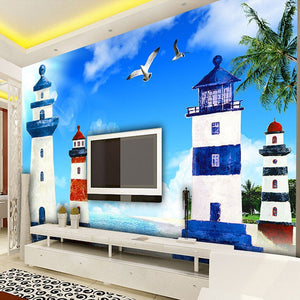 Custom Photo Mural Mediterranean Style Blue Sky White Clouds Lighthouse Living Room TV Backdrop Decorative Pictures Wallpaper 3D - WallpaperUniversity