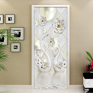 3D Stereoscopic Swan Background Wall Decor Painting PVC Vinyl Wallpaper For Living Room Bedroom Door Sticker Mural Wall Paper 3D -