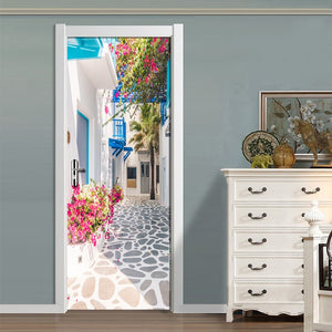 Living Room Bedroom Door Wall Sticker PVC Waterproof Wallpaper Decoration Romance Greek Street View 3D Door Mural Wallpaper Roll - WallpaperUniversity