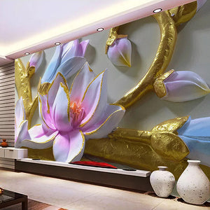 Custom Photo Wallpaper 3D Orchid Embossed TV Background Wall Decorative Painting Mural Papel De Parede Modern Flower Art Decor - WallpaperUniversity