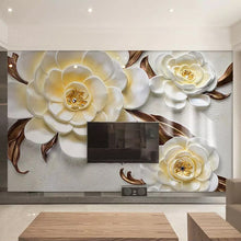Load image into Gallery viewer, Custom Mural Wallpaper Non-woven 3D Stereoscopic Relief Yellow Flower Bedroom Living Room Sofa TV Background Papel De Parede 3D - WallpaperUniversity