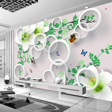 Load image into Gallery viewer, Custom Photo Wallpaper Modern 3D Stereo Round Circle Lily Flower Large Mural Living Room TV Background Home Decor Papel De Pared - WallpaperUniversity