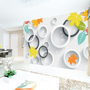 Custom 3D Photo Wallpaper 3D Circles Leaves Modern Simple Art Living Room TV Backdrop Wall Paper Mural Painting Papel De Parede - WallpaperUniversity