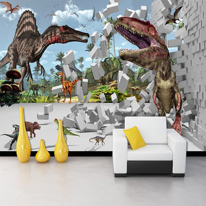 3D Stereoscopic Brick Pattern Dinosaur Broken Wall Large Wall Painting Cafe Restaurant Living Room Bedroom Photo Wallpaper Mural - WallpaperUniversity