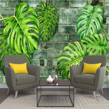 Load image into Gallery viewer, Custom 3D Wall Murals Wallpaper Nordic Hand Painted Plants Green Leaf Brick Wall Papers Home Decor Living Room Wall Decoration - WallpaperUniversity