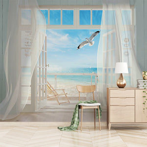 Custom 3D Photo Wallpaper Window Seascape Large Murals Wall Painting Living Room Bedroom Non-woven Home Decoration Fresco Tapety - WallpaperUniversity