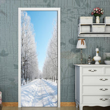 Load image into Gallery viewer, Forest Snow Scenery Door Sticker DIY Mural Living Room Bedroom Wallpaper Poster PVC Waterproof Wall Stickers Papel De Parede 3D - WallpaperUniversity