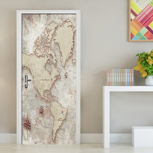 2Pcs Map Living Room Bedroom Door Sticker 3D Wallpaper PVC Self-adhesive Waterproof Wall Sticker Mural Home Decor Wall Paintings - WallpaperUniversity