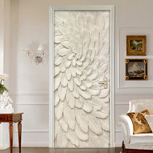 Load image into Gallery viewer, 3D Stereoscopic Embossed Beige Leaves Door Sticker Decoration Wall Mural Creative DIY Self-Adhesive Living Room Door Wallpaper - WallpaperUniversity