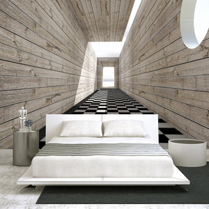 Custom Wall Mural Non-woven Fabric Wallpaper For Walls 3D Visual Space Wood Grain Background Wall Decorative Painting Wallpaper - WallpaperUniversity