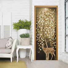 Load image into Gallery viewer, PVC Self Adhesive Waterproof Door Sticker Tree Deer 3D Photo Wallpaper Papel De Parede Living Room Bedroom Door Decor Wall Paper - WallpaperUniversity